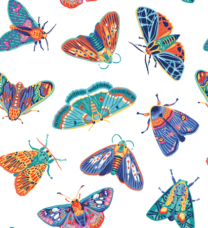 Seamless pattern with colorful moths. Decorative vector illustration for textile print, wrapping paper, wallpaper.