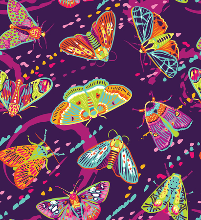 Seamless pattern with colorful moths and hand drawn brushes shapes. Creative texture for fabric, wrapping, textile, wallpaper, apparel.