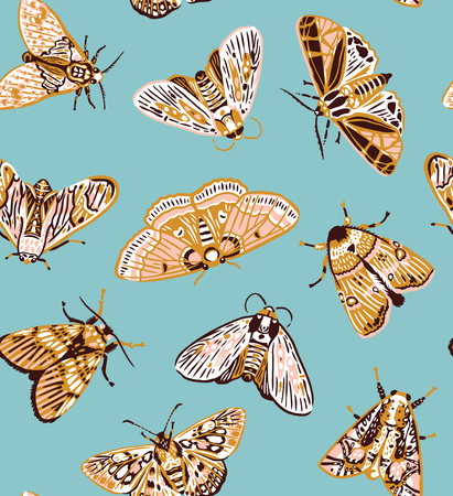 Seamless pattern with colorful moths in vintage style. Vector illustration