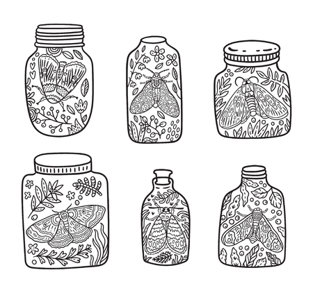 Hand drawn glass jar with moth, butterfly and herbs. Vector contour illustration. Ideal for coloring print 写真素材 - 115031124