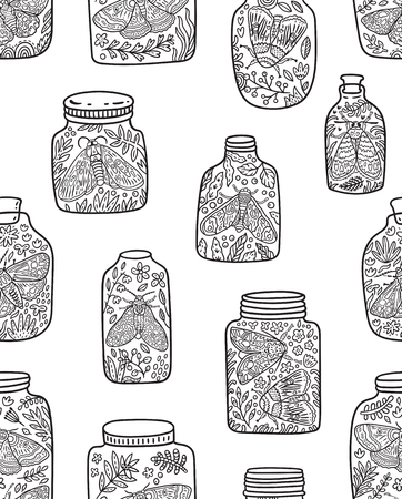 Vector seamless pattern with glass jars, flowers and butterflies in outline. Great for coloring print  イラスト・ベクター素材