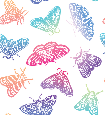 Nahtloses Muster der bunten Farbverlaufsmotten. Abstrakte Schmetterlinge im trendigen Farbverlauf, Oberflächenhintergrund. Vektorillustration