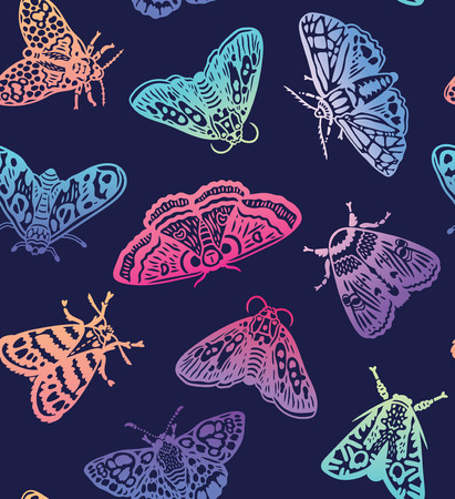 Colorful gradient moths seamless pattern. Abstract butterflies in trendy gradient, surface background. Vector illustration 写真素材 - 115031129