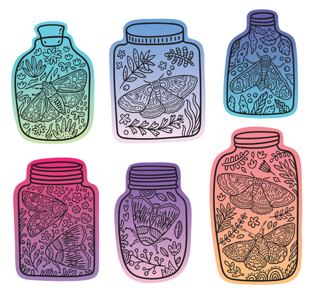 Hand drawn glass jars with moth, butterfly and herbs. Vector gradient stickers with black lines