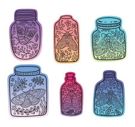 Hand drawn glass jars with moth, butterfly and herbs. Vector gradient stickers with black lines Vector Illustratie
