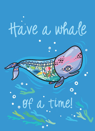 Have a whale of a time. Cartoon whale with a skeleton and flowers inside. Creative art print  イラスト・ベクター素材