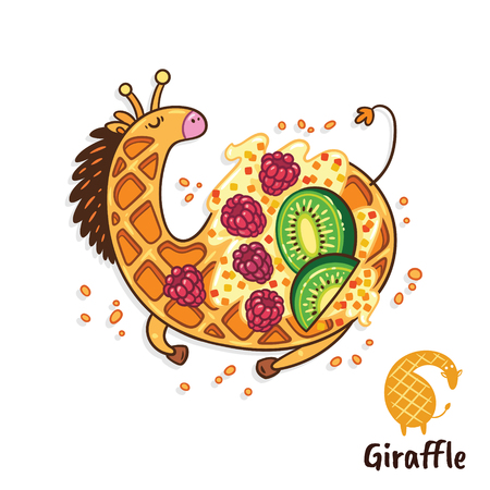 Fancy waffle dessert in the form of a giraffewith whipped cream, raspberries and kiwi. Tasty giraffe art. Vectores