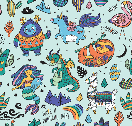 Seamless childish pattern with real, magical and mystical animals isolated on mint. Creative nursery background. Perfect for kids design, fabric, wrapping, wallpaper, textile, apparel