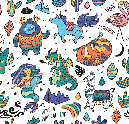 Seamless childish pattern with real, magical and mystical animals isolated on white. Creative nursery background. Perfect for kids design, fabric, wrapping, wallpaper, textile, apparel