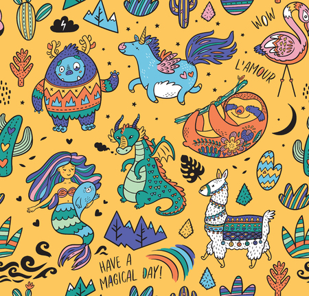 Seamless childish pattern with real, magical and mystical animals isolated on yellow. Creative nursery background. Perfect for kids design, fabric, wrapping, wallpaper, textile, apparel  イラスト・ベクター素材