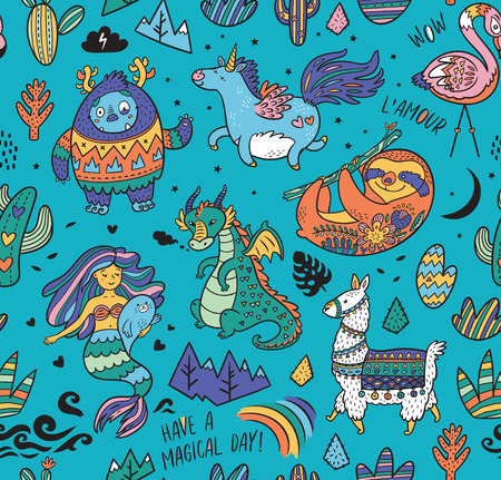 Seamless childish pattern with real, magical and mystical animals isolated on blue. Creative nursery background. Perfect for kids design, fabric, wrapping, wallpaper, textile, apparel