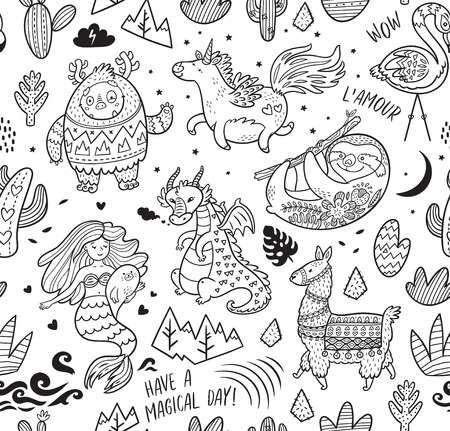 Black and white seamless pattern with real, magical and mystical animals. Ideal for coloring print