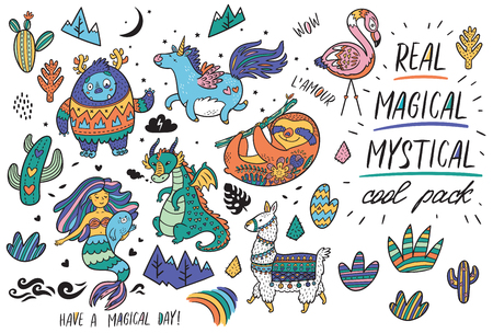 Vector set with real, magical and mystical animals. Yeti and unicorn, dragon, mermaid, llama and sloth in cartoon style. Perfect for greeting cards, party invitations, posters, stickers, pin, scrapbooking, icons