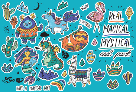 Vector sticker set with real, magical and mystical animals. Yeti and unicorn, dragon, mermaid, llama and sloth in cartoon style. Perfect for stickers, pin, icons