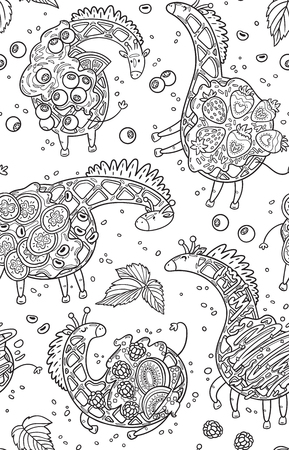 Vector seamless pattern with funny giraffes, waffles. Cool black and white hand drawn characters. Cartoon animals, childrens seamless background. Set of unusual creatures  イラスト・ベクター素材