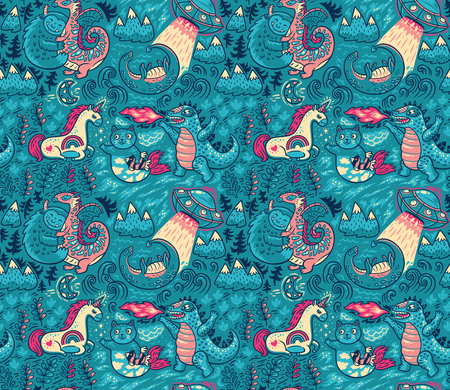 Yeti, Dragon, Unicorn, cat and mermaid, lochness, ufo and Godzilla in cartoon style. Creative childish texture. Great for fabric, textile. Vector Illustration  イラスト・ベクター素材