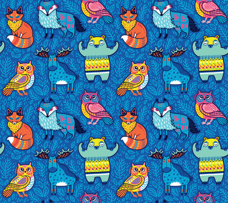 Seamless bright pattern with woodland animals in blue. Cartoon style surface background.