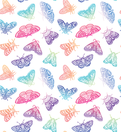 Colorful gradient moths seamless pattern. Abstract butterflies in trendy gradient, surface background. Vector illustration