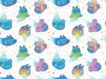 Flying colorful ghost owls seamless pattern. Cute cartoon spooky characters background. Perfect for kids apparel, fabric, textile, nursery decoration, wrapping paper.