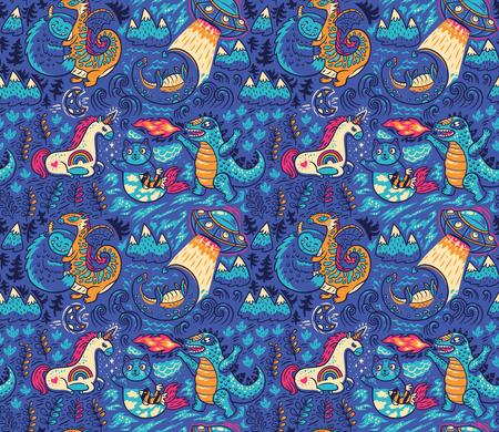 Cute kids graphic with fantastic animals. Yeti, Dragon, Unicorn, cat and mermaid, lochness, ufo and Godzilla in cartoon style. Vector hand drawn illustration. Illustration