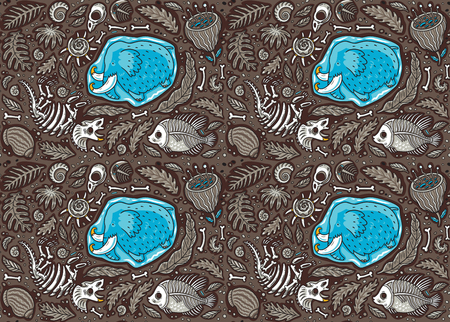 Seamless pattern with ancient fossils, bones, leaves and skeletones set in cartoon style. Vector illustration Illustration