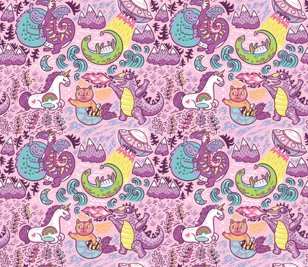 Pink background with fantastic animals. Yeti, Dragon, Unicorn, cat and mermaid, lochness, ufo and Godzilla in cartoon style. Perfect for kids apparel, fabric, textile, nursery decoration, wrapping pap  イラスト・ベクター素材