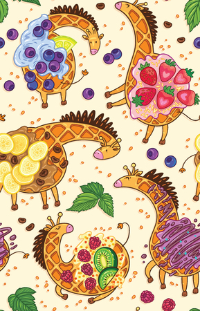 Vector seamless pattern with funny giraffes, waffles. Fantasy hand drawn characters. Cartoon animals, childrens seamless background