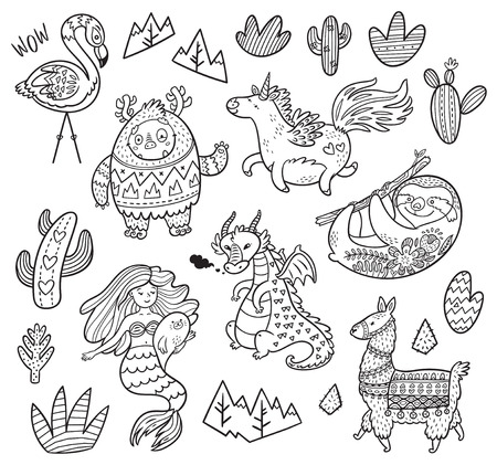 Black and white set with real, magical and mystical animals. Ideal for coloring print Illustration