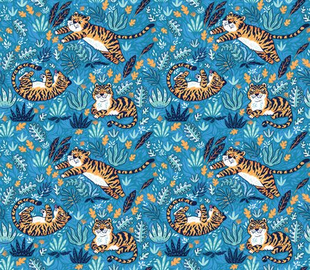 Cute tigers playing together seamless pattern. Tropical vector surface background Standard-Bild - 108521528