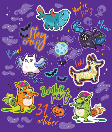 Halloween bright stickers design with owl, black cat, fox, shark and dog Stock Vector - 108521530