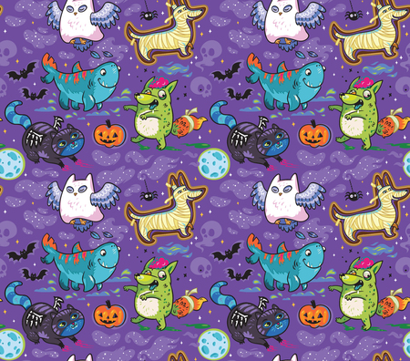 Halloween seamless pattern with Owl the Ghost, Four-leg shark, Dog the Mummy, Fox the Zombie, Black Cat. Purple background