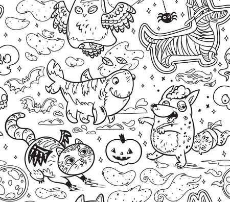 Fantasy Halloween ink seamless pattern with funny cartoon animals. Owl the Ghost, Four-leg shark, Dog the Mummy, Fox the Zombie, Black Cat. Illustration