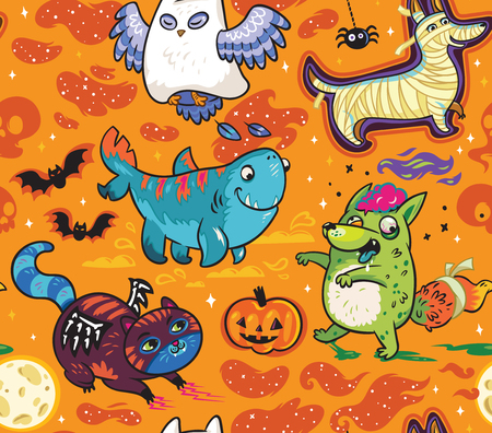 Fantasy Halloween seamless pattern with funny cartoon animals. Owl the Ghost, Four-leg shark, Dog the Mummy, Fox the Zombie, Black Cat. Orange background
