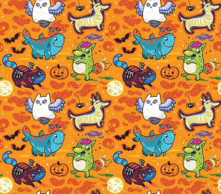 Halloween seamless pattern with Owl the Ghost, Four-leg shark, Dog the Mummy, Fox the Zombie, Black Cat. Orange background