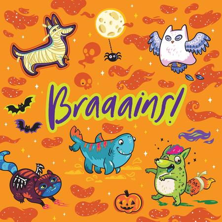Brains. Fantasy print with funny cartoon animals. Owl the Ghost, Four-leg shark, Dog the Mummy, Fox the Zombie, Black Cat. Vector illustration Illustration