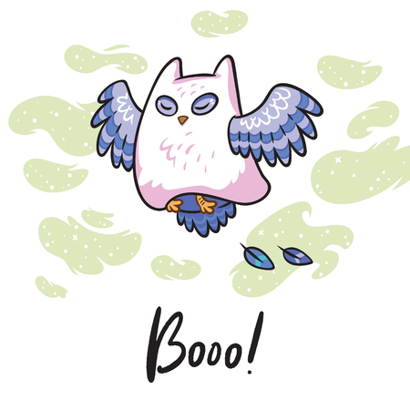 Boo. Fantasy print with funny owl in a ghost costume. Vector illustration