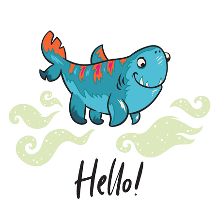 Hello. Fantasy print with funny shark on four legs. Vector illustration