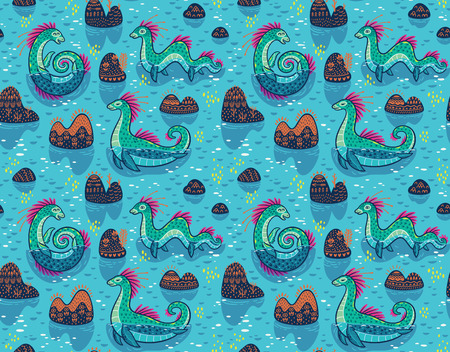 Seamless pattern with Loch Ness Monsters cartoon characters and decorative hills in the lake. Vector illustration