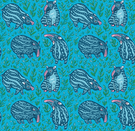 Cartoon blue tapirs with light stripes in the plants. Vector seamless pattern