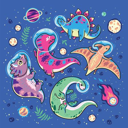 Funny cartoon dinosaur astronauts collection. Vector illustration