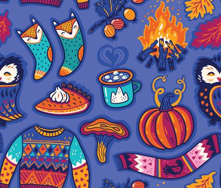 Cozy autumn seamless pattern. Hand drawn vector illustration  イラスト・ベクター素材