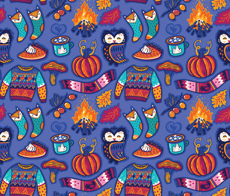 Cozy autumn seamless pattern. Hand drawn vector illustration Illustration