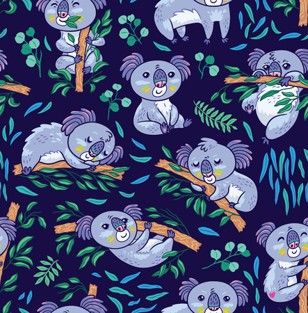Seamless pattern with koalas in the eucalyptus forest. Vector illustration. Seamless pattern perfect for wrapping paper, fabric, wallpaper background design
