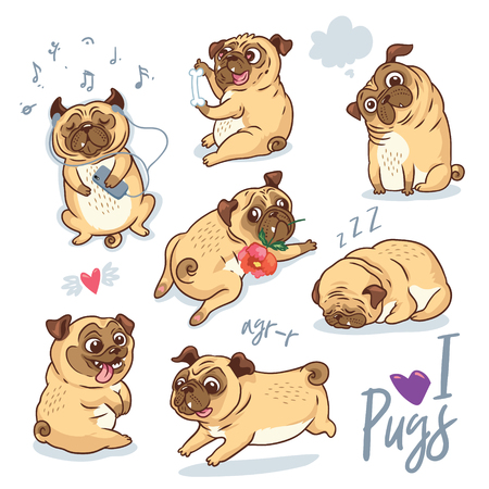 Vector set of cute pug pupies for cards, banners and posters Stock Illustratie