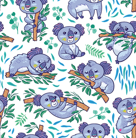 Seamless pattern with koalas in the eucalyptus forest. Vector illustration. Cartoon animals isolated on white background