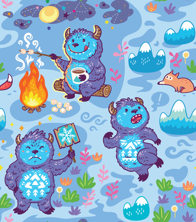 Busy Yetie seamless pattern in cartoon style. Vector illustration  イラスト・ベクター素材