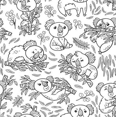 Seamless pattern with koalas in the eucalyptus forest. Black and white vector illustration. Cartoon surface background in contour  イラスト・ベクター素材