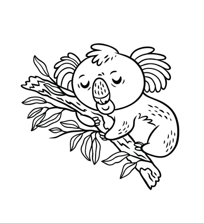 Koala durmiendo en el árbol de eucalipto. Ilustración de vector blanco y negro. Estilo de dibujos animados