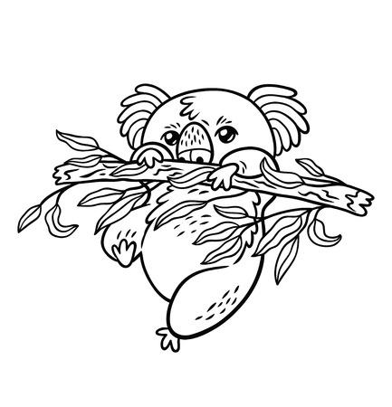 Koala simplemente pasando el rato. Ilustración de vector blanco y negro. Estilo de dibujos animados