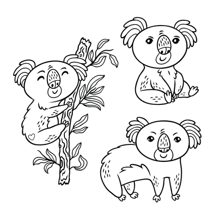 Koala a native Australian animal in different poses. Black and white vector illustration. Cartoon style Ilustración de vector